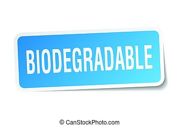 biodegradable square sticker on white
