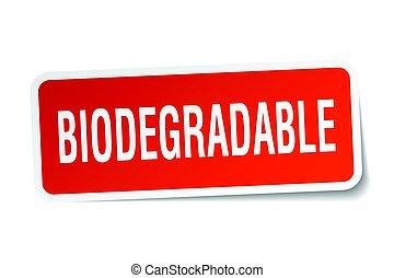 biodegradable square sticker on white