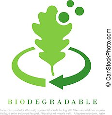 Biodegradable vector logo - Biodegradable abstract logo with...