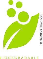 Biodegradable vector logo - Biodegradable green leaf vector...