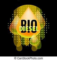 biodiesel, エネルギー, 自然, concept., vector.