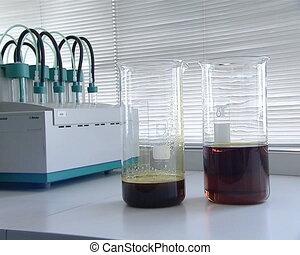 biodiesel research - biodiesel rapeseed oil in glass flask....