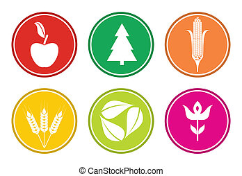 Biodiversity, abstract nature sign set - Biodiverity,...