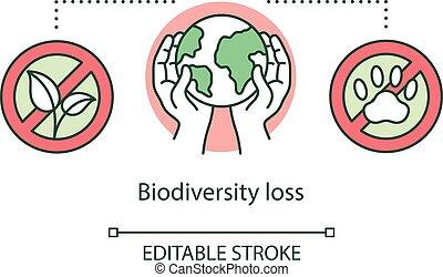 Biodiversity loss concept icon. Species extinction. Plants ...
