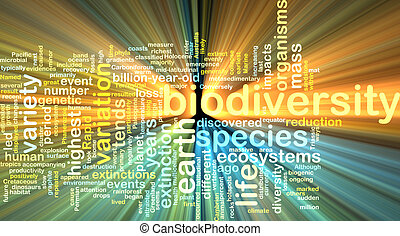 biodiversity wordcloud concept illustration glowing -...