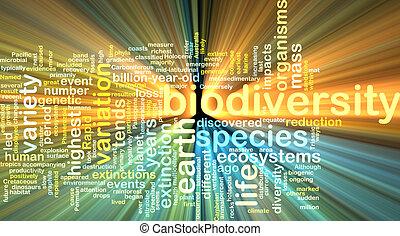 biodiversity wordcloud concept illustration glowing -...