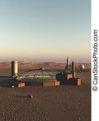 biodome, en, un, extranjero, desierto, planeta