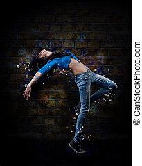 biodro, kobieta, tancerz, młody, chmiel