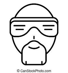 biodro, styl, szkic, twarz, chmiel, ikona, człowiek