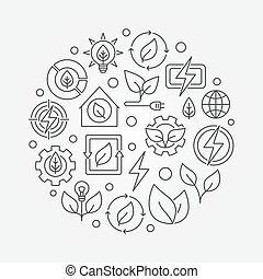 Bioenergy circular outline illustration