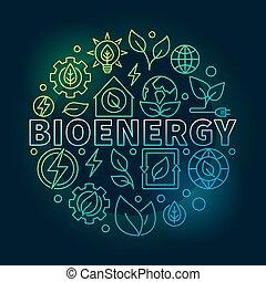 Bioenergy round colorful illustration
