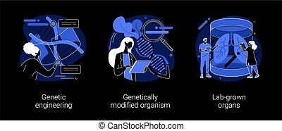 Bioengineering abstract concept vector illustrations.