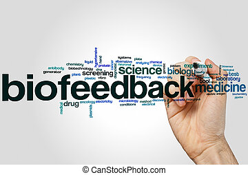 Biofeedback word cloud concept with medicine science related...
