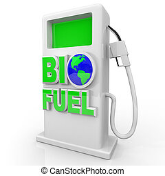 biofuel, -, 緑, ガスポンプ, 駅