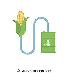 biofuel, -, biomass, etanol, hecho, de, corn.