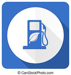 biofuel blue flat icon bio fuel sign
