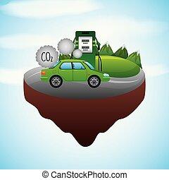 biofuel ecology alternative - landscape vehicle station gas...