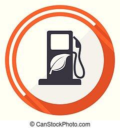 Biofuel flat design vector web icon. Round orange internet button isolated on white background.