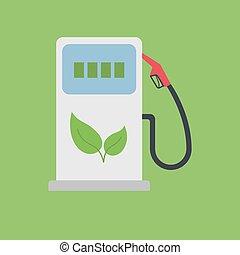 Biofuel Gas Station Vector Icon - Alternative Environmental...