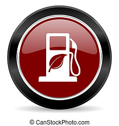 biofuel icon - red glossy web button