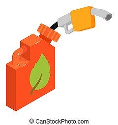 biofuel, isometric, ikon, stil