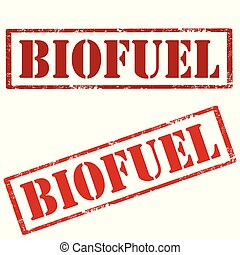 Biofuel-red stamps - Set of grunge rubber stamps with text...