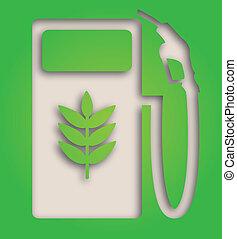 biofuel symbol - illustration of paper cut out biofuel pump