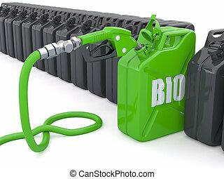 biofuel., ugello pompa gas, e, jerrycan