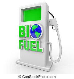 biofuel, -, verde, bomba gás, estação