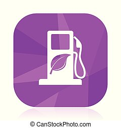 Biofuel violet square vector web icon. Internet design and webdesign button in eps 10. Mobile application sign on white background.