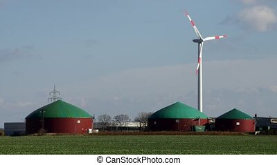 biogas plant and Wind turbine