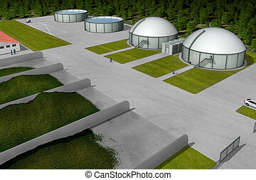 Biogas plant from aerial view - Biogas plant from aerial...