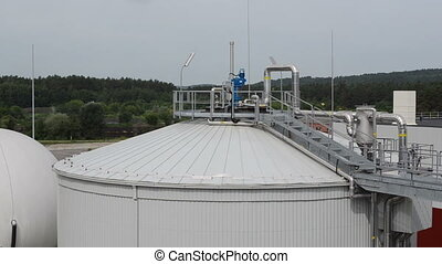 biogas plant sludge - Biogas plant process in tanks...