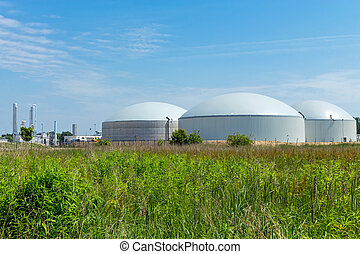 Biogas plant - A biogas plant under a blue sky