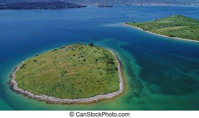 Biograd coastline aerial - Aerial view of the Adriatic ...