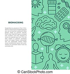 Biohacking concept banner in line style with place for text