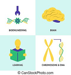 Biohacking concept icons set in flat style