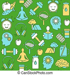 Biohacking concept seamless pattern in colored line style