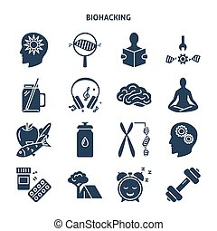 Biohacking concept silhouette icons set in flat style