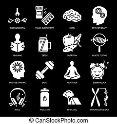 Biohacking silhouette icons set in flat style