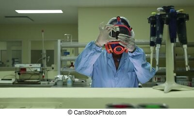 Biohazard and chemistry, woman work