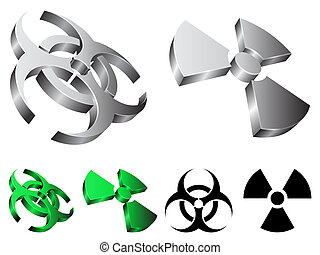 Biohazard and radiation signs. - Three-dimensional shapes of...