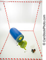 biohazard barrel - upper view of toxic waste spilling from a...