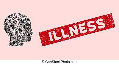 Biohazard Collage Brain Cancer Icon with Textured Illness Seal