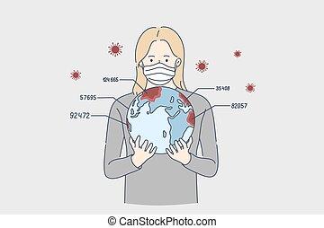 biohazard, coronavirus, relazione, concept., pericolo