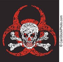 biohazard, cráneo, símbolo