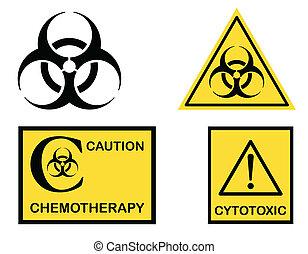 biohazard, cytotoxic, y, chemotherapy, símbolos