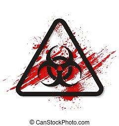 Biohazard dangerous sign on bloody background. Vector illustration