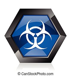 Biohazard dark blue glossy hexagon geometric diamond vector web icon with reflection on white background. Modern design hexagonal internet button.
