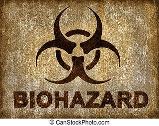 Biohazard sign on grunge background